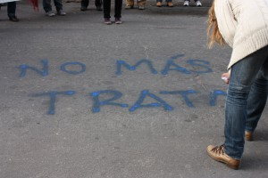 No más trata, graffiti