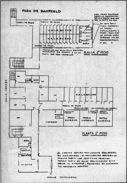 Pozo de Banfield, croquis extraído del Nunca Más