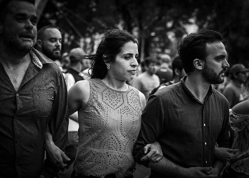 Vicky Donda y Leo Grosso el miércoles, antes de la represión. Foto: Martina Perosa.-