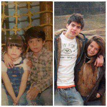 David Ramírez con su hermana Deborah, en dos momentos de su vida.
