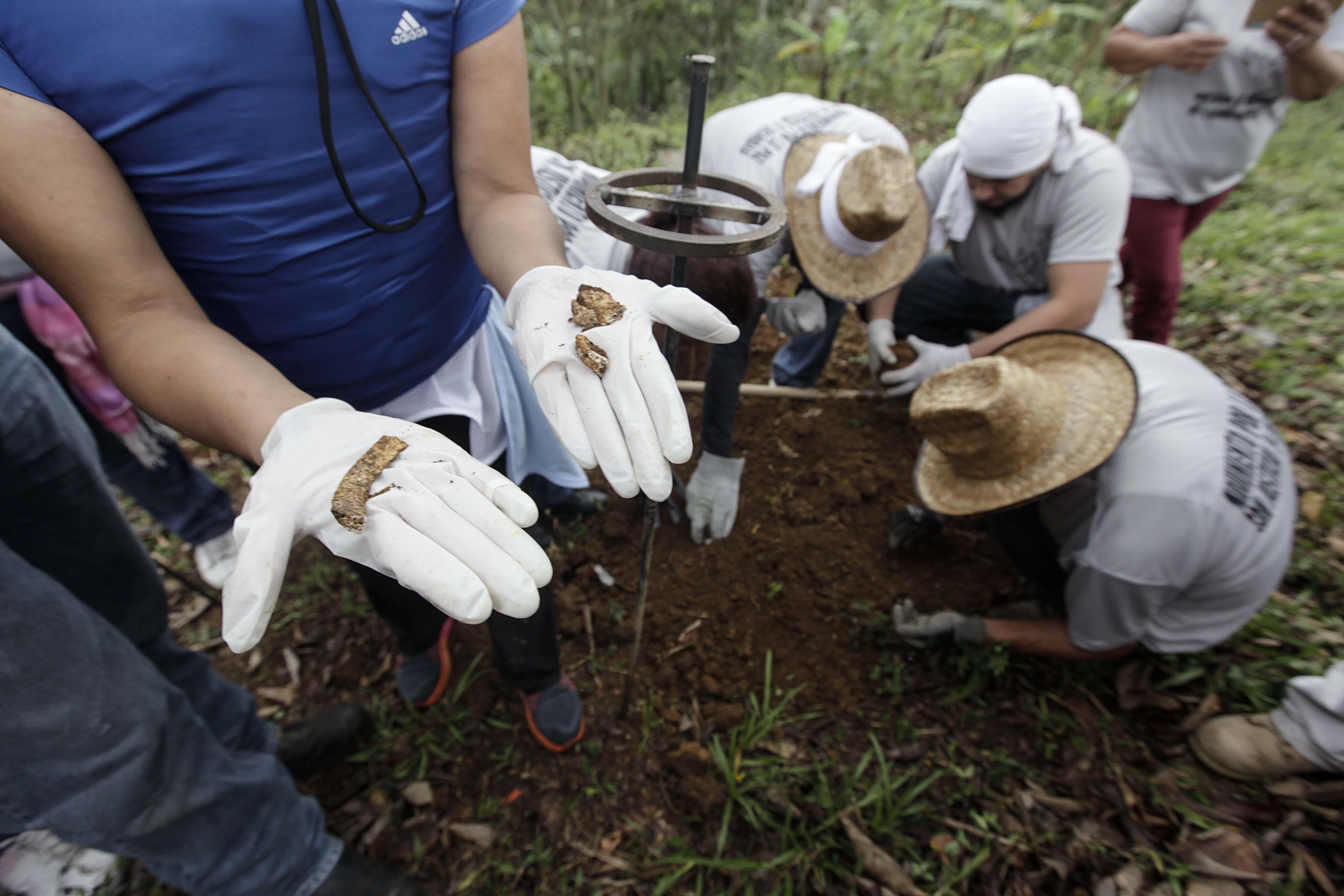 Hallazgos de restos óseos en fosa. Crédito: Germán Canseco/Proceso.