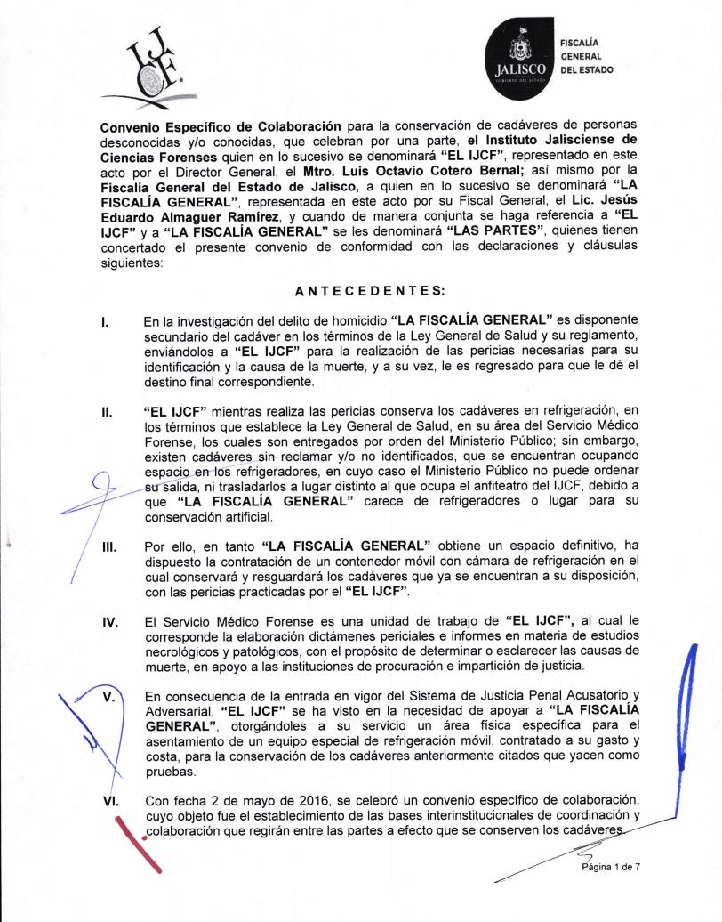 Convenio firmado por la fiscalía de Jalisco y el Instituto Jalisciense de Ciencias Forenses para el resguardo de cuerpos sin identificar en los contenedores. Crédito: gobierno de Jalisco.